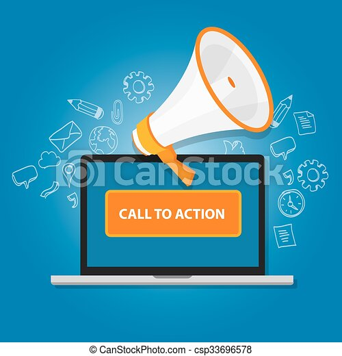 call to action button marketing online design page - csp33696578