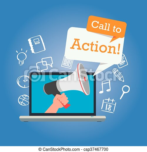 call to action button marketing online design page - csp37467700