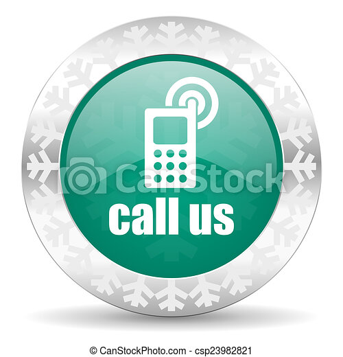 call us green icon, christmas button, phone sign - csp23982821