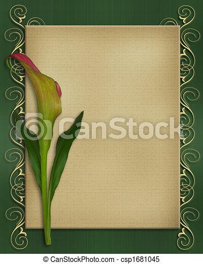 calla lilie, karte, schablone, einladung - csp1681045