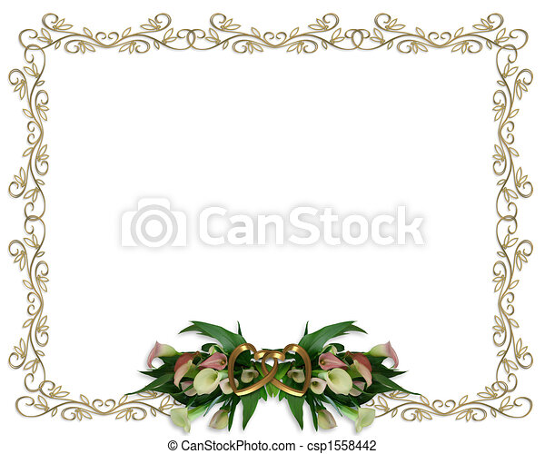 Calla lilies border wedding invitation Image and clip art