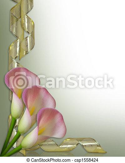 Calla lilies border wedding invitation. Image and illustration ...