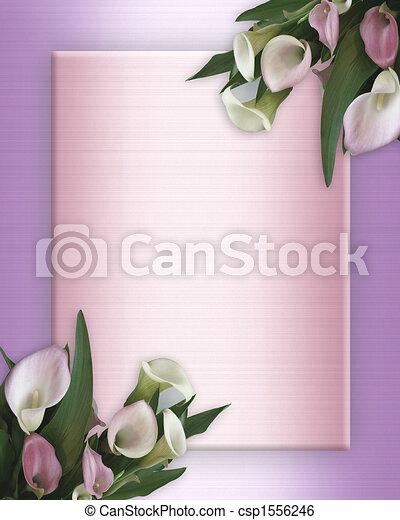Calla Lilies pink Border on satin - csp1556246