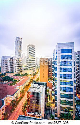 calle, aéreo, anochecer, céntrico, oficina, torre, residencial, contornos, singapur - csp76371308