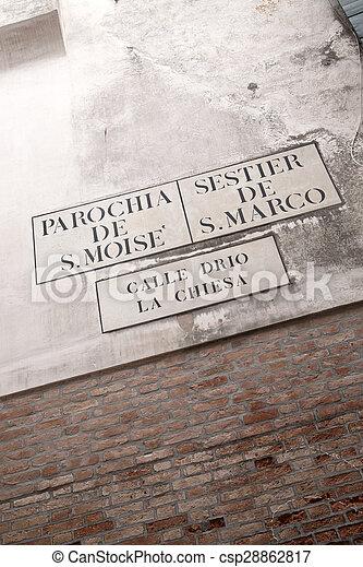 Calle Drio la Chiesa Street Sign, Venice - csp28862817