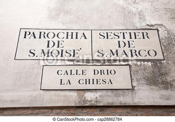 Calle Drio la Chiesa Street Sign, Venice - csp28862784