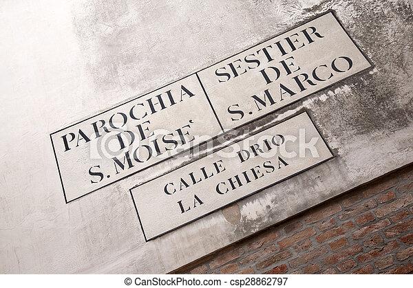 Calle Drio la Chiesa Street Sign, Venice - csp28862797