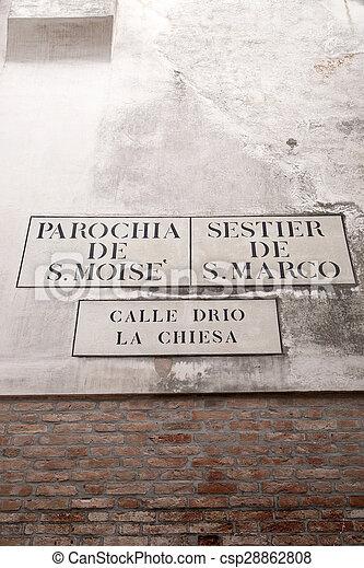 Calle Drio la Chiesa Street Sign, Venice - csp28862808