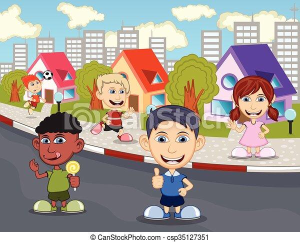 Calle Ninos Jugar Calle Ninos Caricatura Juego