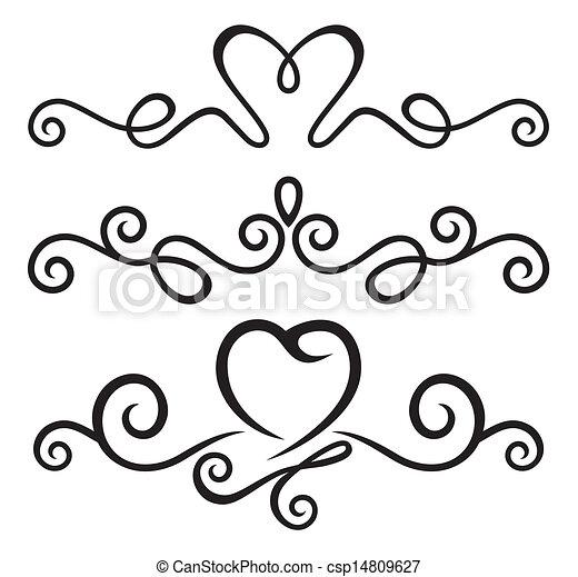 calligraphic, éléments, floral - csp14809627