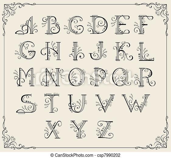 Calligraphic alphabet - csp7990202