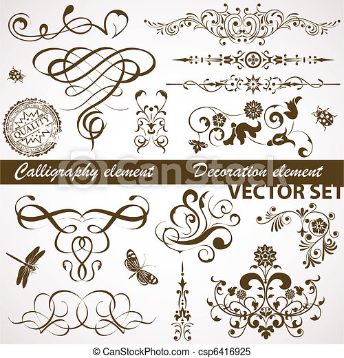 Calligraphic and floral element - csp6416925