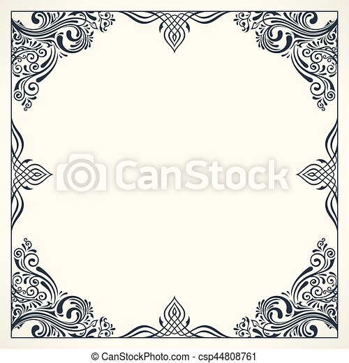 Calligraphic border frame  Design template for wedding greeting card,  invitation, menu