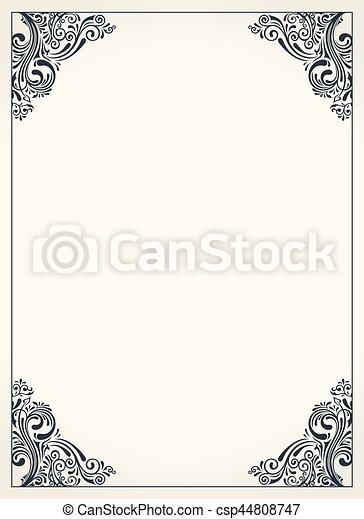Calligraphic border frame design template for wedding greeting card calligraphic border frame design template for wedding greeting card invitation menu csp44808747 m4hsunfo