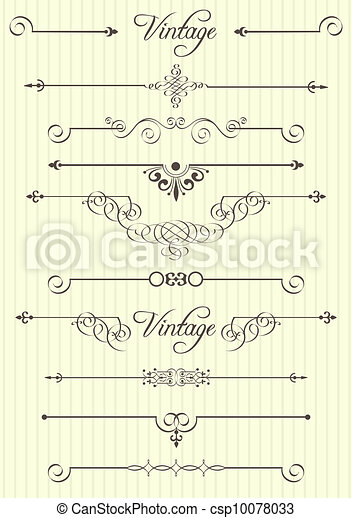 calligraphic design elements and page decor - csp10078033