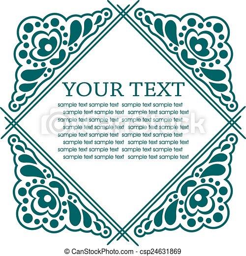 Calligraphic design elements. Vector illustration frame - csp24631869