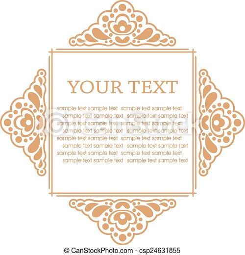 Calligraphic design elements. Vector illustration frame - csp24631855