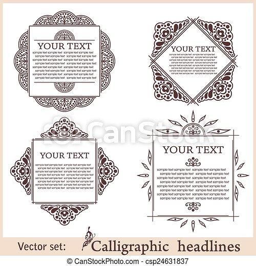 Calligraphic design elements. Vector illustration frame - csp24631837