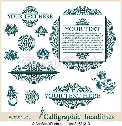 Calligraphic design elements. Vector illustration frame - csp24631813
