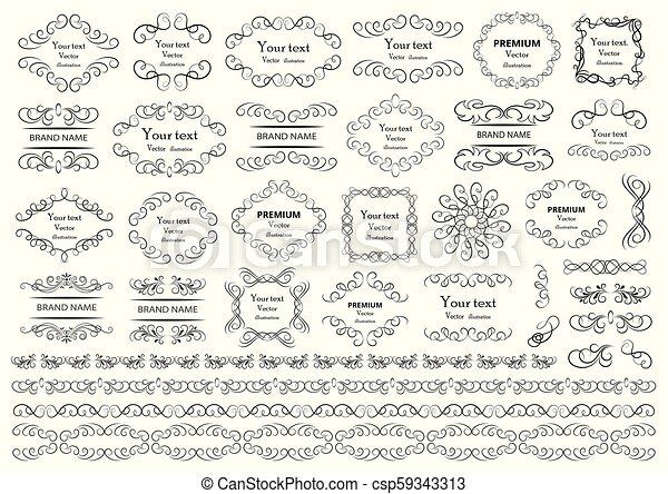 Calligraphic design elements. Vector illustration. - csp59343313