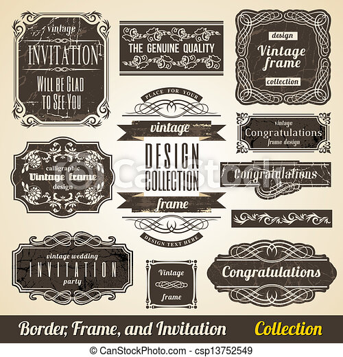 Calligraphic Element Border Corner Frame and Invitation Collection. - csp13752549
