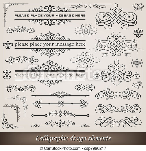 Calligraphic elements and page decoration - csp7990217