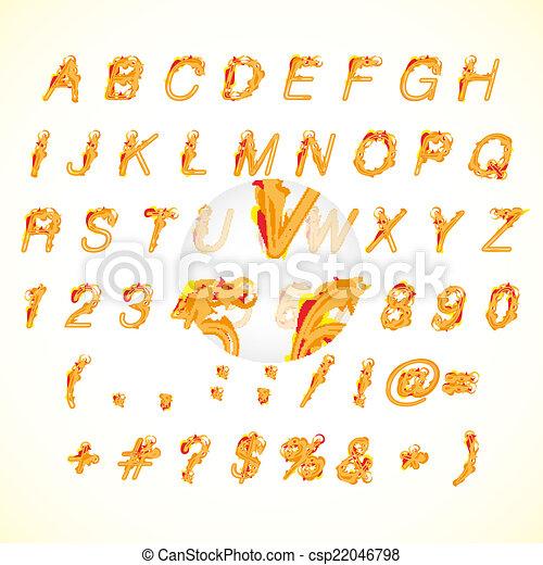 Calligraphic fire design alphabet vector illustration - csp22046798