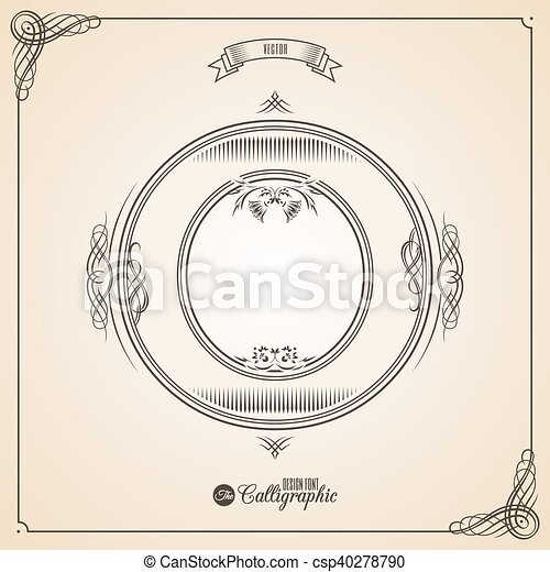 Calligraphic Fotn with Border, Frame Elements and Invitation Design Symbols. Collection of Vector glyph. Certificate Decor. Hand written retro feather Symbol. Letter O - csp40278790