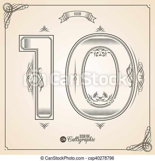 Calligraphic Fotn with Border, Frame Elements and Invitation Design Symbols. Collection of Vector glyph. Certificate Decor. Hand written retro feather Symbol. Number 10 - csp40278796