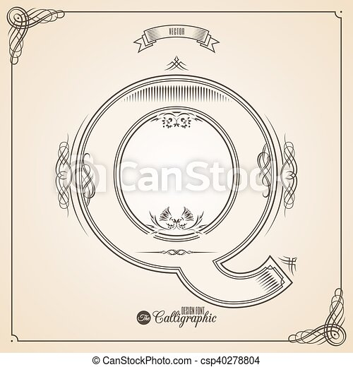 Calligraphic Fotn with Border - csp40278804