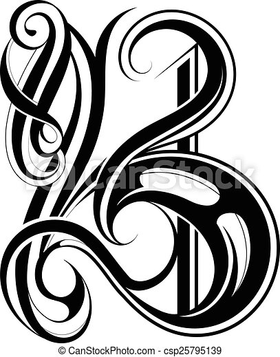 Calligraphic letter b Vector illustration with capital vectors
