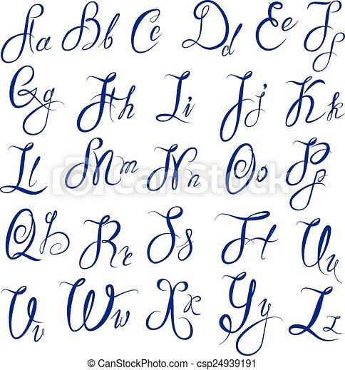 ABC - alfabeto inglés - maleficio caligráfico y - csp24939191