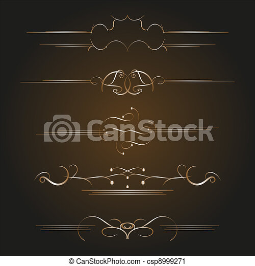 Calligraphic old elements vintage decor - csp8999271