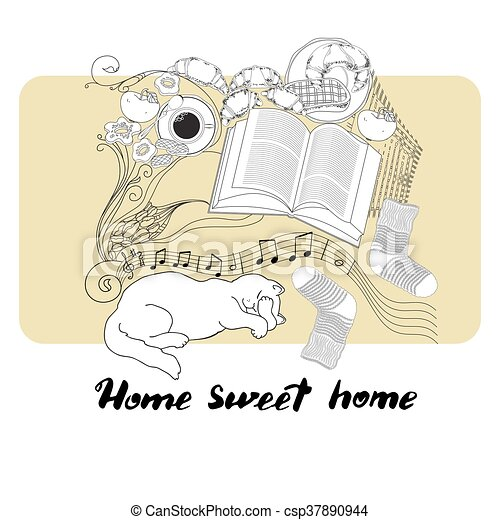 graphic relating to Home Sweet Home Printable identify Calligraphic quotation printable expression Dwelling adorable