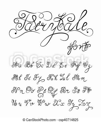 Fairytale, Vector dibujado a mano fuente caliográfica. alfabeto de tatuajes de caligrafía a mano. Cito texto. Cartas de inglés en la minúscula superior. Guión, vintage, hecho a mano, cartas retro. - csp40714825