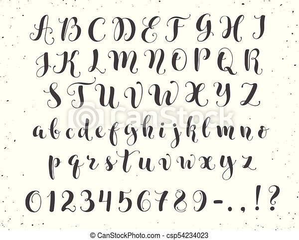 Calligraphic script letters. Elegant calligraphy letters