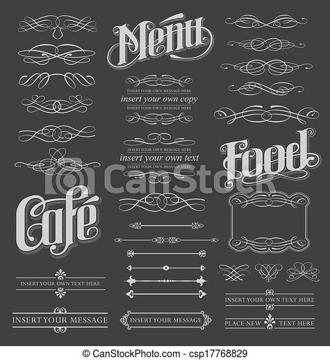 calligraphic, set, lavagna, rotolo - csp17768829