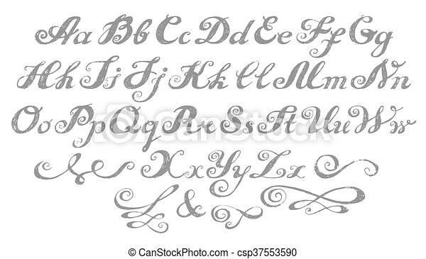 calligraphy alphabet typeset lettering hand drawn alphabet capital