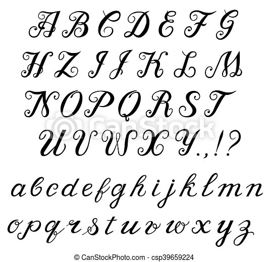 Calligraphy Handwritten Alphabet Elegant Hand Written Calligraphic