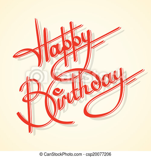 Calligraphy happy birthday - csp20077206