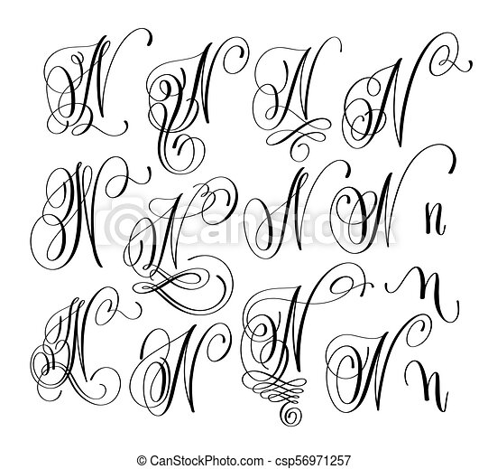 calligraphy lettering script font N set, hand written