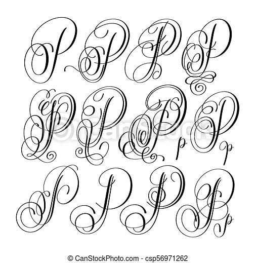 Calligraphy Lettering Script Font P Set Hand Written Signature Letter Design Vector Illustration
