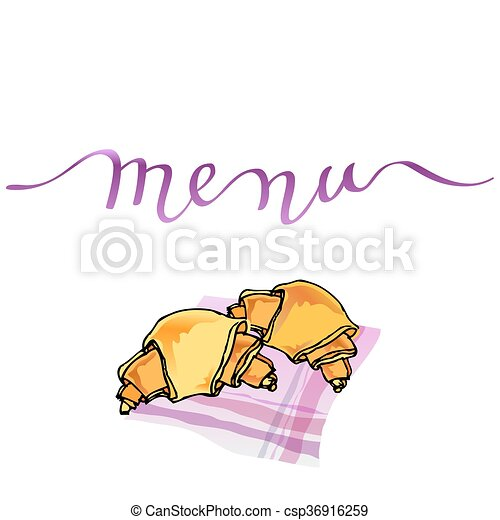 Calligraphy Menu Card With Orange Croissants On Pink Table Napkin