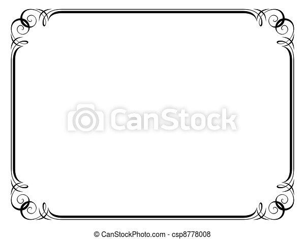 calligraphy ornamental decorative frame - csp8778008
