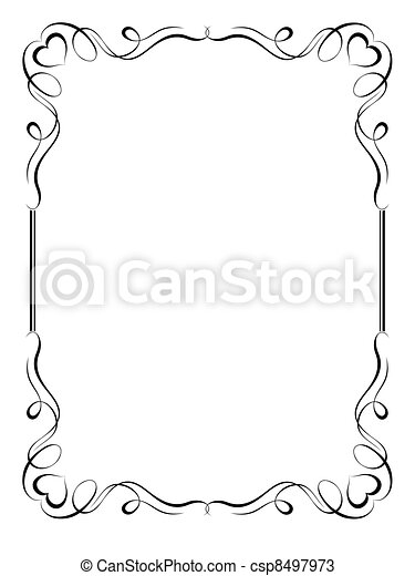calligraphy ornamental decorative frame with heart - csp8497973