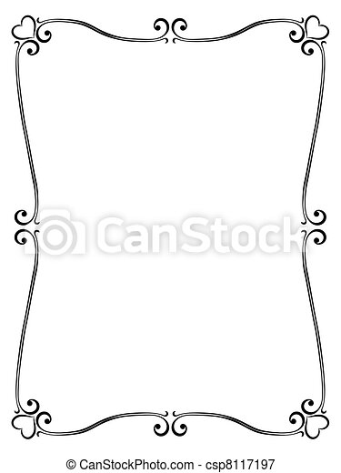 calligraphy ornamental decorative frame with heart - csp8117197