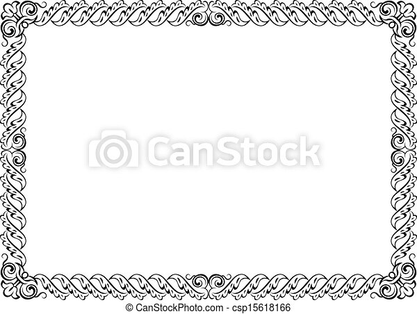 Calligraphy penmanship curly baroque frame black isolated.