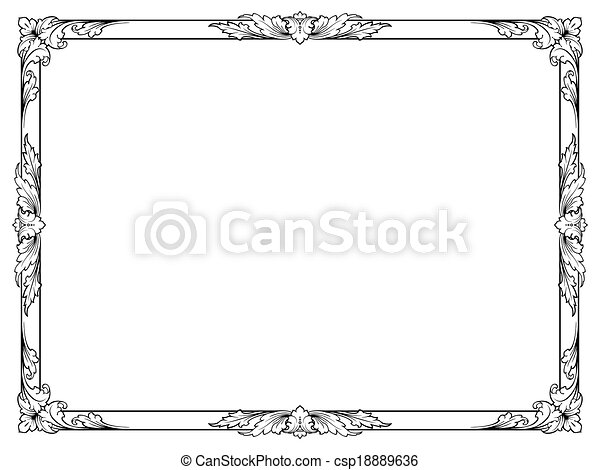 calligraphy penmanship curly baroque frame black - csp18889636