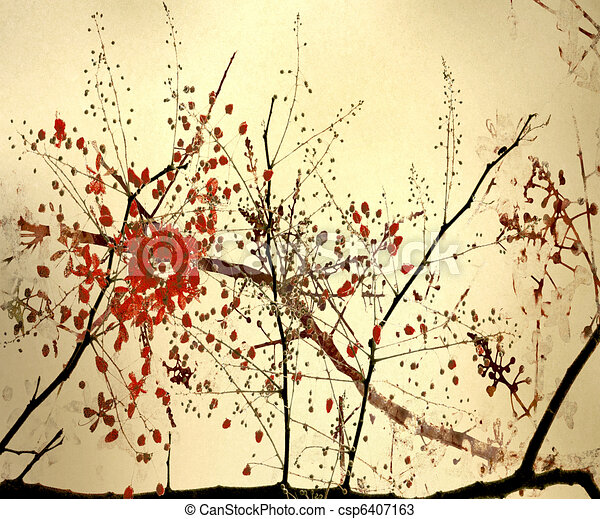 Calligraphy Style Blossom Art Background - csp6407163