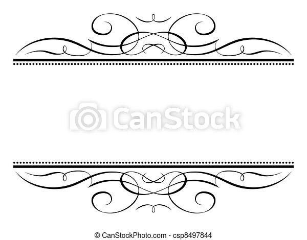 calligraphy vignette ornamental penmanship decorative frame - csp8497844
